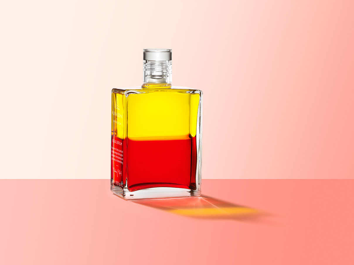 Aura-Soma Equilibrium bottle B5 Sunrise/Sunset in yellow and red.