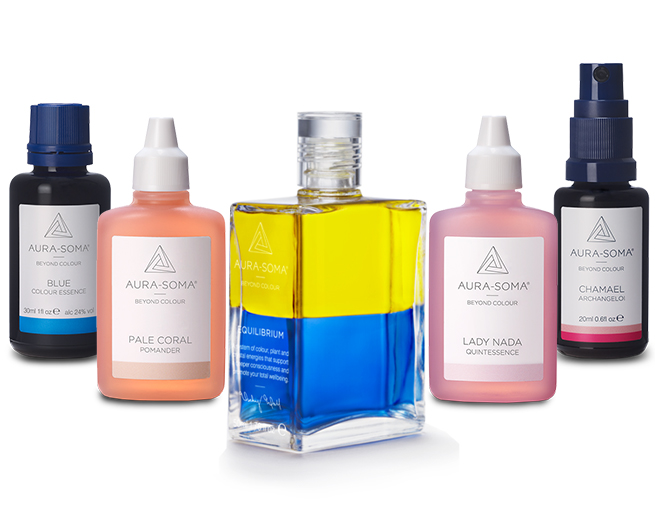 Complete collection of products from Aura-Soma including Colour Essences, Pomander, Equilibrium, Quintessence and Archangeloi.